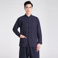 chinês artes marciais roupa venda por atacado-História de Xangai Blend Linen Artes Marciais mens roupas tradicionais chinesas camisa kungfu wushu manga Longa camisa chinesa 5 cor