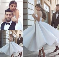 Wholesale Tea Length Reception Dress - 2017 Cheap Said Mhamad Wedding Dress Romantic Spaghetti Straps Tea Length Backless Summer Reception Bridal Gown Custom Made Plus Size
