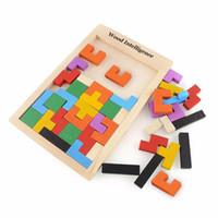 jeux préscolaires achat en gros de-Coloré En Bois Tangram Casse-tête Puzzle Jouets Tetris Jeu Préscolaire Magination Intellectuelle Éducatif Enfant Jouet Cadeau