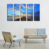 Bridge sous Sunrise Modern Giclee Canvas Prints Artwork 5 Panels Contemporary Seascape Peintures sur toile Art mural pour décorations à la maison