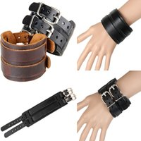Wholesale Mens Wide Leather Cuff Bracelets - New Punk Mens Bracelets Thick Double Band Through Buckle Wide Vintage Genuine Leather Bracelet Wristband Cuff