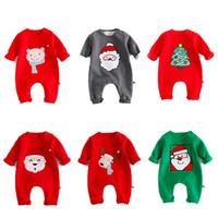trajes de invierno para niñas pequeñas al por mayor-Bebé Invierno Mamelucos de Navidad Recién Nacido Monos Toddler Niños de Manga Larga O-cuello Animal Print Niños Niñas Ropa Outfits 0-24 M