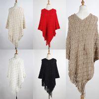 Wholesale Long Crochet Shawl Cape - Autumn Winter Shawl Scarf Women's Sweater Ladies Cape Fringe Poncho Oblique Stripe Coat RF0390