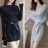 Wholesale womens batwing sleeve dress - Women Sweater Dress Bodycon Sexy Cotton Bow Elastic Spring Autumn Black Knitted Dresses Vestidos Belt Club Dresses for Womens Clothes