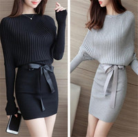 Wholesale knitting clothes for women - Women Sweater Dress Bodycon Sexy Cotton Bow Elastic Spring Autumn Black Knitted Dresses Vestidos Belt Club Dresses for Womens Clothes