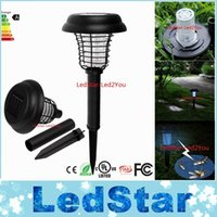 Wholesale Wholesale Bug Zappers - UV LED Solar Powered Outdoor Yard Garden Lawn Light Anti Mosquito Insect Pest Bug Zapper Killer Trapping Lantern Lamp