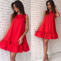 Wholesale Irregular Hem Vest Dress - 2017 new summer sexy dress round neck sleeveless fashion dress irregular hem vest dress