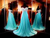 Wholesale Turquoise Empire Dress - Turquoise 2016 Prom Dresses Sexy Backless Lace Beading Formal Evening Gowns With Empire Body Sweetheart Neck Long Chiffon Party Gowns