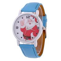 menino crianças relógios venda por atacado-Crianças Meninas meninos Relógios Moda Feminina de couro Papai Noel Relógio de Quartzo Para O Miúdo Presentes de Ano Novo de Natal Dos Desenhos Animados de pulso crianças relógios novo