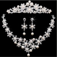 Wholesale Cheap Jewelry Wholesale Sets - Bridal crowns Accessories Tiaras Hair Necklace Earrings Accessories Wedding Jewelry Sets cheap price fashion style bride HT02
