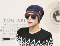 Wholesale Korean Headgear - Fashion men outdoor Beanie stripes hip hop knitting hat Korean trendy wool hat Cap Headgear Headdress Head Warmer