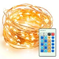 Wholesale Ft Power - 100 LEDs 33 ft Copper Wire String Light 10M Christmas Party Fairy Light Dimmable LED String Light + Remote Controller + Power Adapter