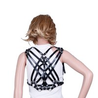 Wholesale Leather Strap Body Harness - Body HARNESS sexy fashion studded adjustable delicate straps leather body harness in black fastens at waist and shoulders