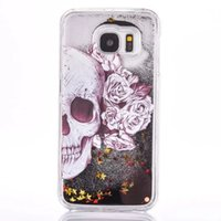 Wholesale Skull Galaxy Note Cases - Quicksand Stars Hard Case Liquid Glitter Flower Skull VIP For Iphone SE 5 5S 5C 6 plus 6S 4.7 5.5 Samsung Galaxy S7 S6 EDGE PLUS NOTE 5 Skin
