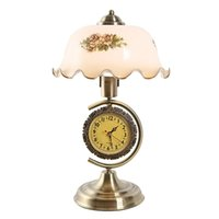 Wholesale Chinese Glass Plates - Vintage Chinese Style Desk Lamp with Clock Glass Lampshade with Flower Bedroom Table Lamp Living Room Decor Desk Lamp
