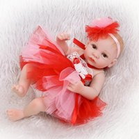 Wholesale Play Dresses For Girls - Lifelike Baby Dolls 27CM Mini Bebe Reborn Babies with Princess Dress Christmas doll Play House Toys for Children Boneca Reborn