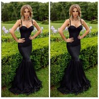Wholesale Best Sexy Ladies Wear - 2016 Sexy Mermaid Evening Dresses Sweetheart Spaghetti Slim Lace Appliques Prom Dress Special Occasion Formal Wear Ladies Best Fitted