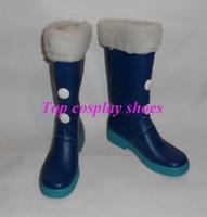 Wholesale Hatsune Miku Snow Cosplay - Wholesale-Vocaloid Hatsune Snow Miku Cosplay Costume Boots Boot Shoes Shoe new come #399 hand made Custom made