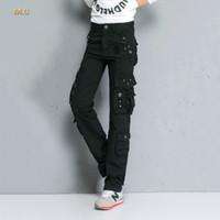 kargo pantolon kadın artı boyutu toptan satış-Kadınlar için pamuk karışımı kargo pantolon artı boyutu pamuk karışımı yüksek bel cep sonbahar bahar ordu yeşil tam boy rahat pantolon ttd0601