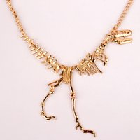 Wholesale Dinosaur Charms - 2017 Alloy Dinosaur Skeleton Dead Tyrannosaurus T-Rex Charm Choker Necklaces For Women Jewelry Collar Free Shipping