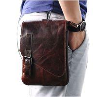 Wholesale Iphone Cross Body Bag - 8 Inches Leather Wallet Waxy Vintage Men's Wallet Coffee Iphone Camera Single Shoulder Bag Cross Body Men's Waist Bag