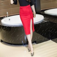 Wholesale High Waist Skirt Korean - 2016 Hitz Korean Women Sexy Breasted Slim Package Hip Skirt High Waist Split Plus Size