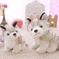 Wholesale One Year Boy - 18cm Baby Kids Plush Toy Stuffed Doll Simulation Husky Dog Birthday Present (Size: One Size, Color: Greyish white)