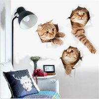 1 Piece 3D Cat and Dog Wall Sticker Furo View Bathroom Toilet Sala de estar Decoração para casa Decal Poster Background Combination Wall Stickers