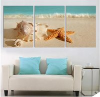 Wholesale Shell Oil Paintings Modern - 3 Panel Modern Printed Blue Beach Seascapes Paintings Wall Art Home Decor Shell Sea Paintings For Living Room(No Frame)