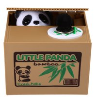 Wholesale Panda Gifts Boxes - Robotic Stealing Money Panda Toy Itazura Coin Bank Great Kids Gift Cent Penny Saving Money Box Pot Case Piggy Bank Saving Pot Coin Bank