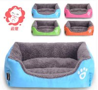 Wholesale Luxury Dog House Wholesale - 2017 pet care winter got warm new cute pet blue orange pink choose rectangle shape Poodle dog&cat nest,room, bed house luxury 2pc lot