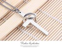 Wholesale Men Cross Pendant Prayer - Men Titanium Stainless Steel Lord's Prayer Cross and Ring Necklace