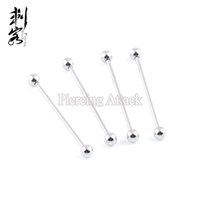Wholesale Industrial Pierce - Free Shipping Wholesale 14 Gauge Surgical Steel Extra Long Basic Industrial Barbell Body Piercing Jewelry 32mm-42mm