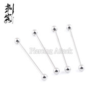 Barato Jóias Piercing Industrial Frete Grátis-Frete grátis Atacado 14 Gauge Surgical Steel Extra Long Basic Industrial Barbell Body Piercing Jóias 32mm-42mm