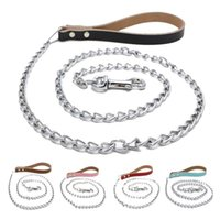 Wholesale Dog Leash Genuine Leather - Dog Leashes Iron Chain Leades Genuine Cowhide Leather Handler Chrome Plated Iron Chain Leash Collar for small large dogs 120cm