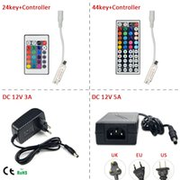 Wholesale Accessoires Pc - Wholesale-1Pcs DC12V 24key   44 key RGB IR Remote Controller; 3A   5A Power supply Adapter For LED Strip light Accessoires SMD 5050 3528