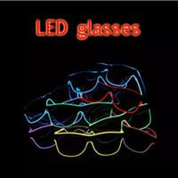 gafas de cumpleaños al por mayor-LED Party Glasses Fashion EL Wire glasses Cumpleaños Fiesta de Halloween Bar Decorativo proveedor Luminous Glasses Eyewear