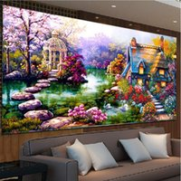 Wholesale Painting Garden Home - DIY 5D Diamond mosaic Landscapes Garden lodge Painting Cross Stitch Kits Diamonds Embroidery Home Decoration Ferr shipping