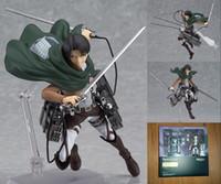 atacar figuras de acción de titanio al por mayor-14 CM Ataque a Titán Shingeki no Kyojin Rivaille Figma 213 en caja de PVC Figura de Acción Modelo Colección Juguete envío gratis