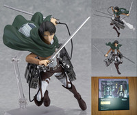 Wholesale Titan Action Figure - 14CM Attack on Titan Shingeki no Kyojin Rivaille Figma 213 Boxed PVC Action Figure Model Collection Toy free shipping