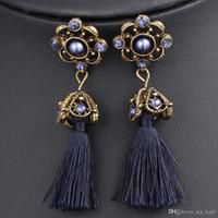 Wholesale Beautiful Girl Earring - Long Tassel Earrings Bohemian Statement Earrings Ethnic Vintage Quartz Purple Crystal Jewelry Beautiful Gift For Girl Women's Accessori