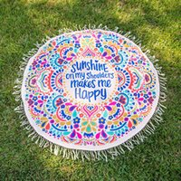 Wholesale Cover Baby - Summer Beach Round Mat Indian Bohemian Tapestry Mat Hippie Picnic Thin Cover Yoga Throw Mat Chiffon Polyester Towel