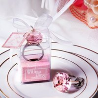 Wholesale Cheap Keychain Wedding Favors - Wholesale- Cheap home party Favors wedding gifts diamond ring shape keychain Key accessories wedding favors and gifts for guest 50pcs lot