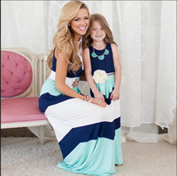 Wholesale Girl Holiday Outfits - Summer mother and daughter dresses Girls color block slim dresses Family Matching Outfits Kids Baby girl Sundress Beach Holiday Dress blue