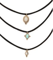 Wholesale Girl Leather Necklaces - New fashion jewelry leather turquoise choker necklace set 1set =3pieces gift for women girl N1779