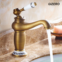 Wholesale Wall Mounted Cold Water Taps - Wholesale- High Quality Bathroom Antique Bronze Faucet Basin Mixer Deck Mounted ceramic hot and cold water tap vessel faucet ZR124