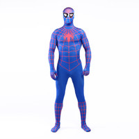 Wholesale Men Sexy Photos - Real Photo 2017 Sexy Blue and Red Lycra Spandex Full Body Zentai Suit Costume Superhero Spider-man Cosplay Costume For Halloween