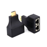 Color negro 1080p HDMI a puerto dual RJ45 Adaptador de extensión de cable de red por Cat 5e / 6 para HD-DVD para PS3