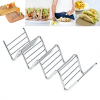 Wholesale baking racks for sale - Group buy Stainless Steel Taco Holder Colored Waves Shaped Food Rack Pie Pancake Rack Baking Pastry Tools WX9