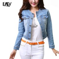 Wholesale Round Neck Denim Jacket - Wholesale- 2016 New Fashion Women Denim Jackets Round Neck Short Denim Jean Jackets Coats Long Sleeve Dark light blue S-2XL jaqueta jeans